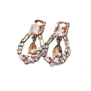 Pink and Amber on Silver Crystal Earrings